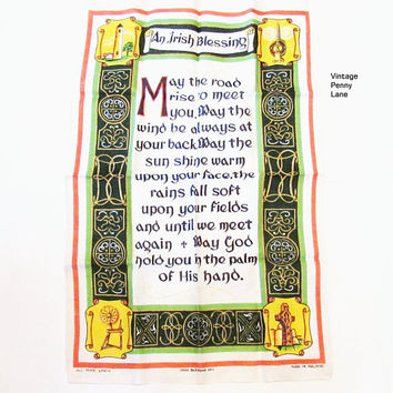 Vintage Pure Linen Printed Tea Towel / Dish Cloth, Irish Blessing