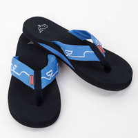 Mens Flip Flop: Whale Line Embroidered Flip Flops– Vineyard Vines