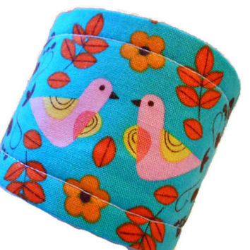 Cup cozy - coffee cup sleeve - tea and hot chocolate cozies - handmade cozy - cup hug - Pink love bird fabric drink sleeve - fall winter