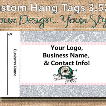 Paisley Print Custom Hang Tag Business Card Style Printing  Matte  3.5 x 2 inch cards Design services  Sales Tags Shop Tags