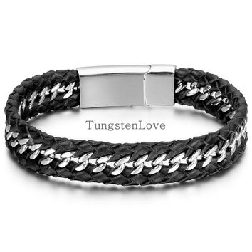 22*1.2cm Fashion Men Jewelry Punk Style Mens Genuine Leather Stainless Steel Bracelet Wheat Wide Cuff Bangle Black Silver