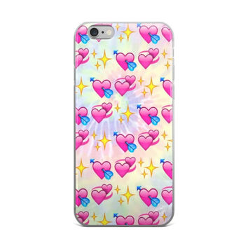 Glowing Stars Heart With Arrow Double Heart Emoji Collage Teen Cute Girly Girls Tie Dye iPhone 4 4s 5 5s 5C 6 6s 6 Plus 6s Plus 7 & 7 Plus Case