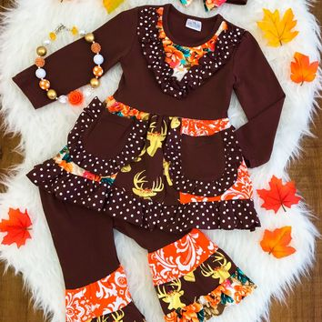 FALL FRENZY FLORAL RUFFLE BOUTIQUE OUTFIT