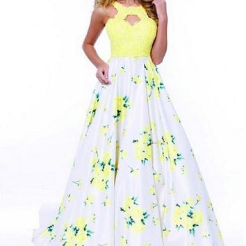 Long Prom Evening Flower Print Skirt Dress