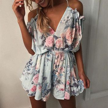 Summer Ruffle Floral Beach Playsuits 2018 Women Loose Beach Jumpsuits Rompers Lady Plus Size Sexy Off Shoulder V Neck Bodysuits