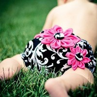 Diaper Cover with 3 Flowers | StacyBayless - Children's on ArtFire