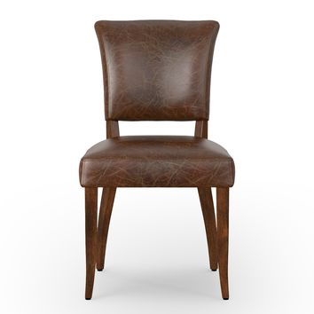 JIMMY LEATHER DINING CHAIR-BIKER TAN