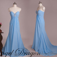 Mint Chiffon A-line Long Prom Dresses, Evening Dresses, Prom Dresses 2014, Long Party Dresses, Formal Dresses