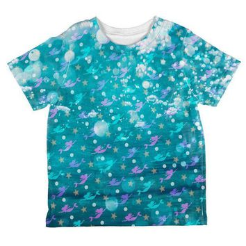 DCCKJY1 Mermaids Pearls and Starfish Pattern All Over Toddler T Shirt