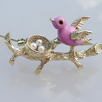 CLEaRANCE SaLE, A Signed Vintage bird brooch. Gerry's Brooch. Figural jewelry, tree, swallow brooch. Pink Bird with nest.