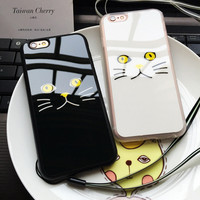 "Lovely Black White Cat Face Painted Soft Mirror Phone Case For iPhone 7 6 6S Plus SE 5 5S 4.7"" 5.5"" Rubber Protective Back Cover"