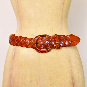 Vintage 70s 80s Brown Leather Belt Woven Leather Woven Belt Braid Leather Wide Belt 70s Belt Hippie Belt Hippy Boho Belt S Small 26 27 28