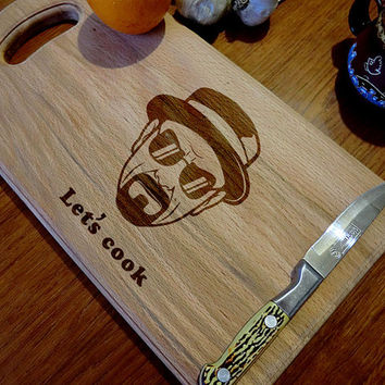 Breaking Bad Custom Engraved Cutting Board Let's Cook Anniversary Gift Newlywed Christmas Personalized Gift idea. Heisenberg