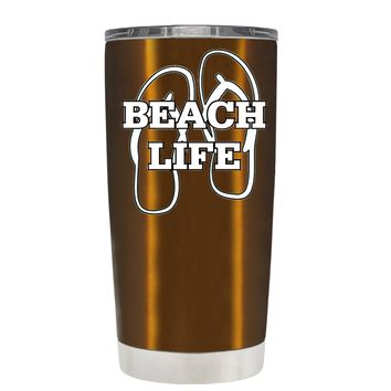 The Beach Life Sandals on Copper 20 oz Tumbler Cup