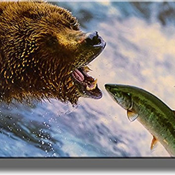 Grizzly Bear Catching Fish Picture on Stretched Canvas, Wall Art Decor, Ready to Hang!