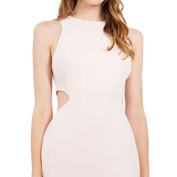 Sugar Lips Sleeveless Side Cut Out Romantic Dress in Peach