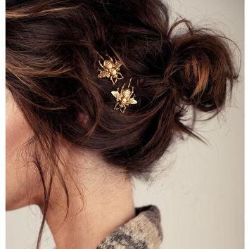 DCCKL3Z 1 pc Gold Bee Hair Pin Hair Jewelry CF148