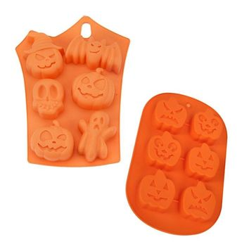 3D Pumpkin Silicone fondant Mould 2 styles Soap Molds Candy Chocolate Cake Mold Cake Decoration Tools Halloween Party Baking Mou