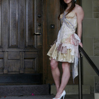 upcycled clothing . wearable art romantic tattered dress . sycamore