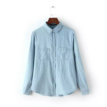 Denim Long-Sleeve Button Collared Shirt With Pocket