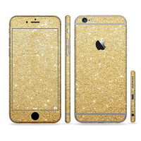 The Gold Glitter Ultra Metallic Six-Piece Sectioned Series Skin Set for the Apple iPhone 6 or 6 Plus