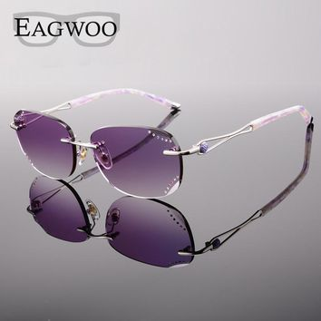 Women Rimless Sunglasses Prescription Reading Myopia Sun Glasses with Color Tinted lenses MR-8 Lenses Crystal Glasses 258033