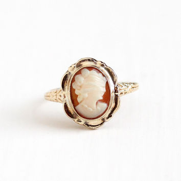 Vintage 10k Rosy Yellow Gold Cameo Ring - Size 6 1/2 Vintage 1930s Art Deco Carved Shell Woman Flower Floral Fine Jewelry