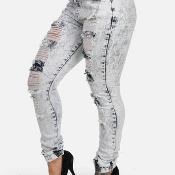 High Waisted Distressed Joggers (Light Acid Wash)