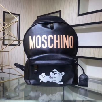 Moschino Fashion new dog letter print backpack bag Black