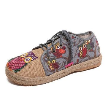Fashion Online Pattern Owl Cute Colorful Cloth Lace Up Shoes