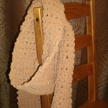 Long and Soft Knitted Scarf in Tan, you choose traditional or infinity scarf -- ships in 1 day!
