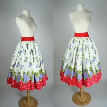 1950's circle skirt w polka dot and plum fruit print high waist fit and flare hand made full tea length skirt red dot mid calf size XS 4