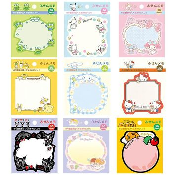 30 pages /Pack Frog Dog Kitty Gudetama Melody Kuromi Twin Stars  Memo Pads Sticky Notes  Student Stationery