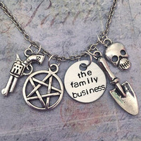 The Family Business Necklace - Sam and Dean Winchester Necklaces - Supernatural Jewelry - Team Free Will Jewelry