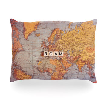 "Sylvia Cook ""Roam Map"" World Oblong Pillow"