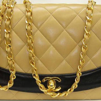 Vintage CHANEL rare color combination of black and beige lamb leather classic 2.55 flap chain shoulder bag. Must have rare purse