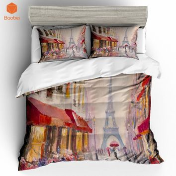 2/3 Pcs 3D Oil painting Tower in Paris Bedding Set With Pillowcase Polyester Printed Bed Linen Duvet Cover Quilt Cover Set Home