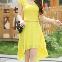 Yellow Short Sleeve Chiffon Midi Dress