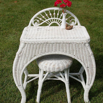Antique Wicker Dressing Table and Stool, Wicker Vanity Table, Wicker Desk, Vanity Table and Stool, Shabby Chic