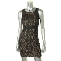 XOXO Womens Juniors Mini Lace Overlay Cocktail Dress