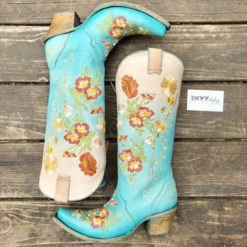 Corral Turquoise Orange Floral Embroidery Boot