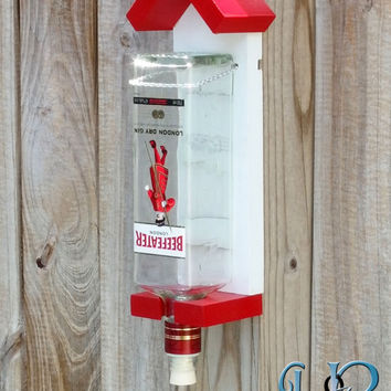 Bottle hummingbird feeder in red and white, humming bird feeder using recycled gin bottle mounts to any fence or tree, birdfeeder, liquor