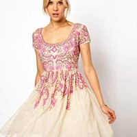 Skater Dress With Pink Beading