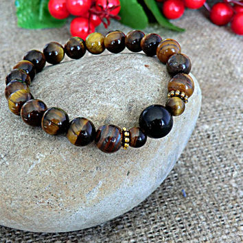 Mens Bracelet Men Jewelery Tiger Eye Bracelet Black Agate Bracelet Stone Bracelet Mens gift Bracelet for men