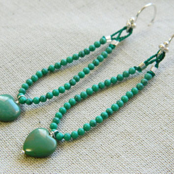 Beaded Turquoise Heart Earrings, Turquoise Earrings, Heart Earrings, Hear Designs, Valentines Hearts, Turquoise Gifts, Green Hearts