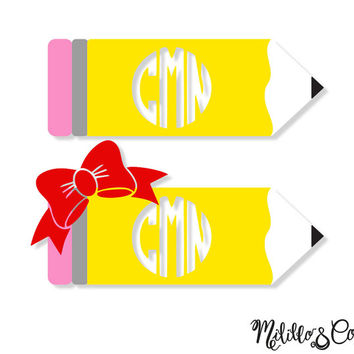 Teacher Pencil Monogram Yeti Decal/ Decal/ Car Decal/Yeti Tumbler Decal / Custom Yeti Decal / Yeti Monogram Decal