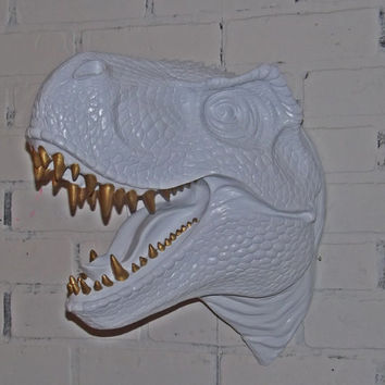 ON SALE Faux Taxidermy / T-Rex / Dinosaur / Boys Room Decor / Gold / White / Geekery