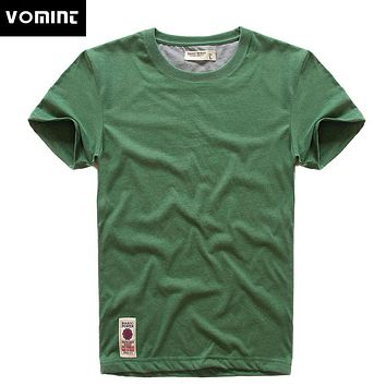 VOMINT New Print T-Shirt Mens Short Sleeve T-shirt Cotton Multi Pure Color Fancy Yarns T Shirt male color grey green lblue