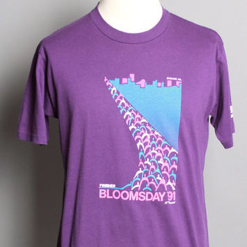 90s NIKE Swoosh T-SHIRT / 1991 BLOOMSDAY Marathon Run Tee, L