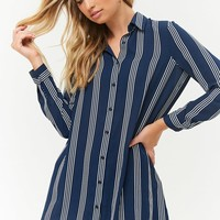 Striped Chiffon Shirt Dress